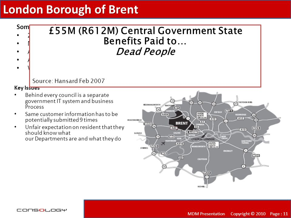 London Borough of Brent MDM Presentation Copyright © 2010 Page : 11 Key Issues Behind every council is a separate government IT system and business Process Same customer information has to be potentially submitted 9 times Unfair expectation on resident that they should know what our Departments are and what they do Some Stats about Brent 270,000 population and rising Most diverse racial make-up in the country A youthful population profile Areas of great deprivation and social exclusion (53rd most deprived LA) Wembley and the new National Stadium £55M (R612M) Central Government State Benefits Paid to… Dead People Source: Hansard Feb 2007