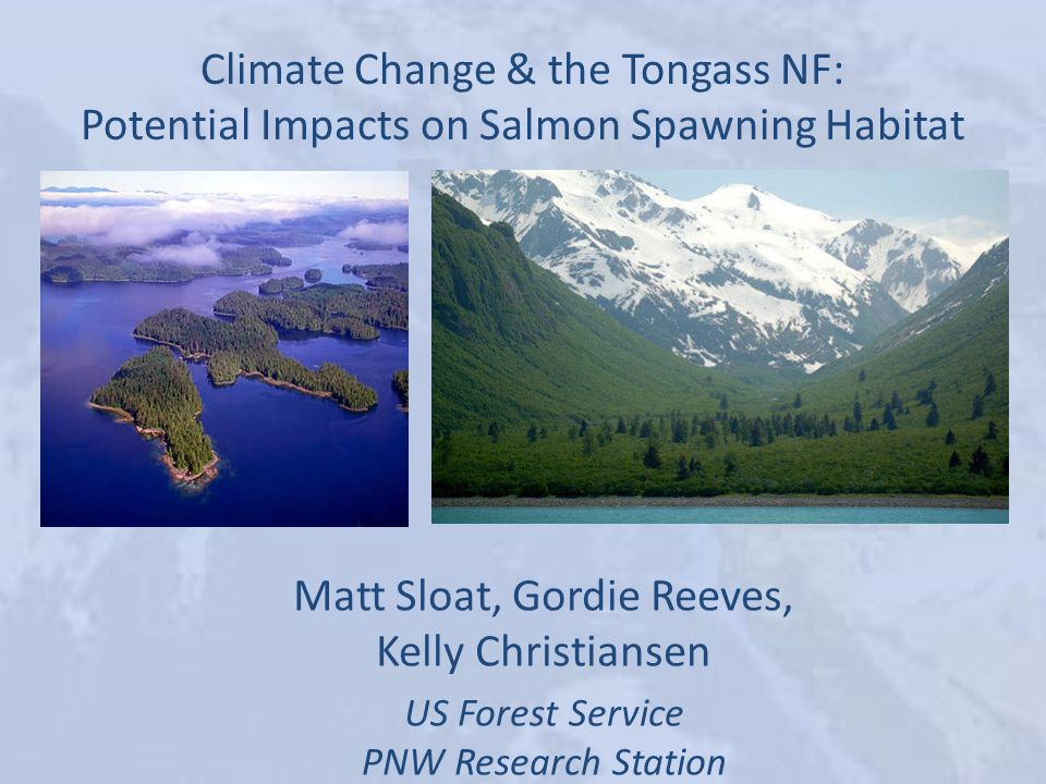 Climate Change & the Tongass NF: Potential Impacts on Salmon Spawning Habitat Matt Sloat, Gordie Reeves, Kelly Christiansen US Forest Service PNW Research Station