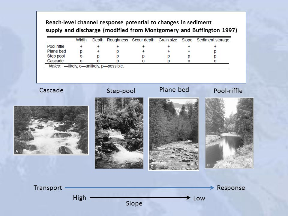 Cascade Step-pool Plane-bed Pool-riffle Transport Reach-level channel response potential to changes in sediment supply and discharge (modified from Montgomery and Buffington 1997) Response High Low Slope