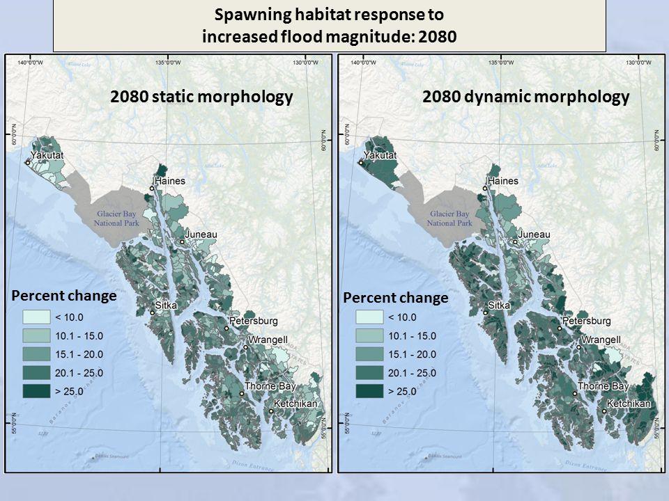 2080 static morphology2080 dynamic morphology Spawning habitat response to increased flood magnitude: 2080 Percent change