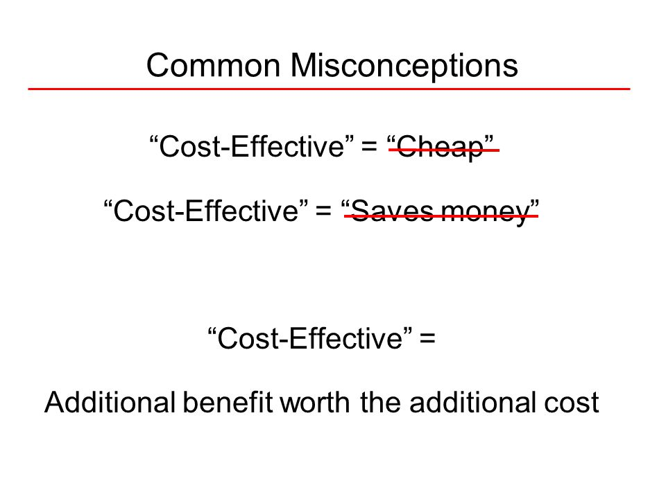 Cost-Effective = Cheap Cost-Effective = Saves money Cost-Effective = Additional benefit worth the additional cost Common Misconceptions
