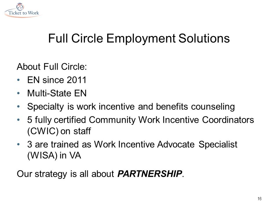 Full Circle Employment Solutions About Full Circle: EN since 2011 Multi-State EN Specialty is work incentive and benefits counseling 5 fully certified Community Work Incentive Coordinators (CWIC) on staff 3 are trained as Work Incentive Advocate Specialist (WISA) in VA Our strategy is all about PARTNERSHIP.