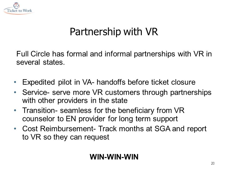 Partnership with VR Full Circle has formal and informal partnerships with VR in several states.