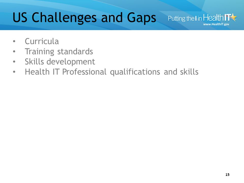US Challenges and Gaps 15 Curricula Training standards Skills development Health IT Professional qualifications and skills