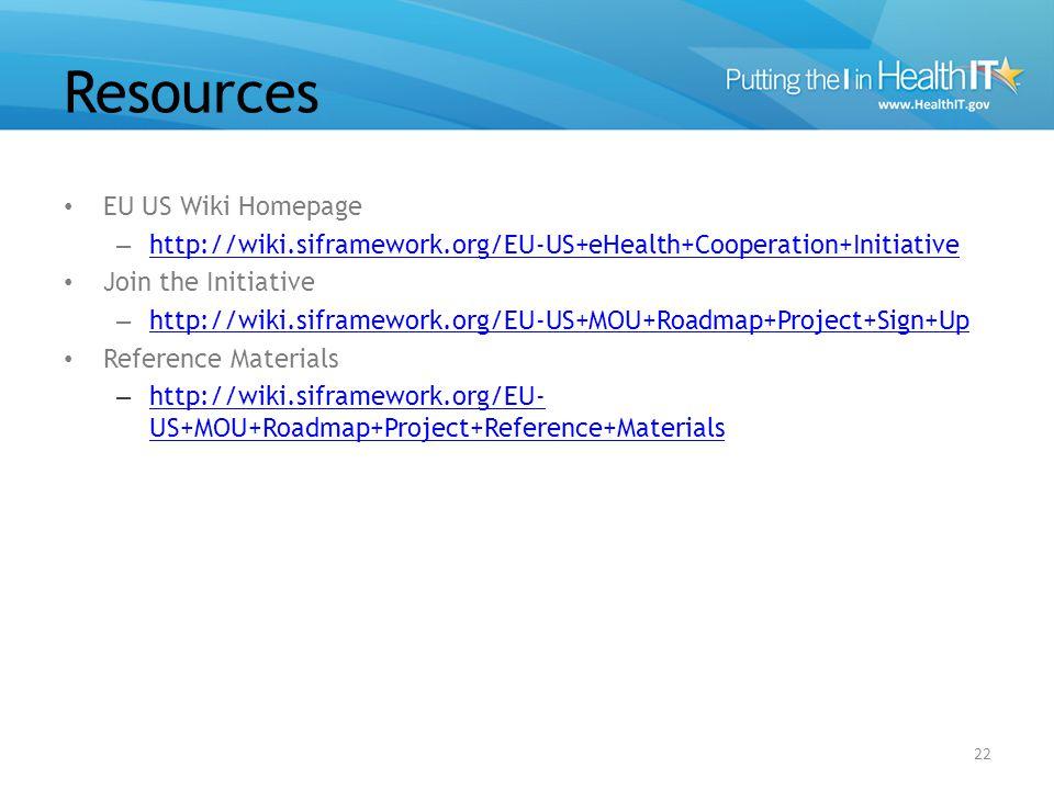Resources EU US Wiki Homepage – http://wiki.siframework.org/EU-US+eHealth+Cooperation+Initiative http://wiki.siframework.org/EU-US+eHealth+Cooperation