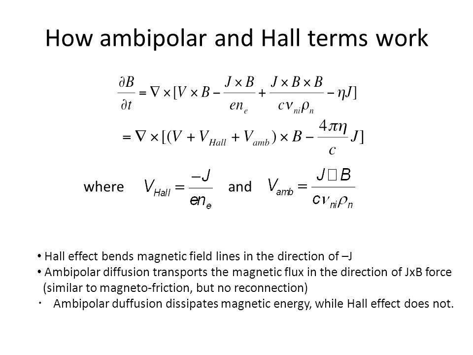 How ambipolar and Hall terms work whereand Hall effect bends magnetic field lines in the direction of –J Ambipolar diffusion transports the magnetic flux in the direction of JxB force (similar to magneto-friction, but no reconnection) ・ Ambipolar duffusion dissipates magnetic energy, while Hall effect does not.