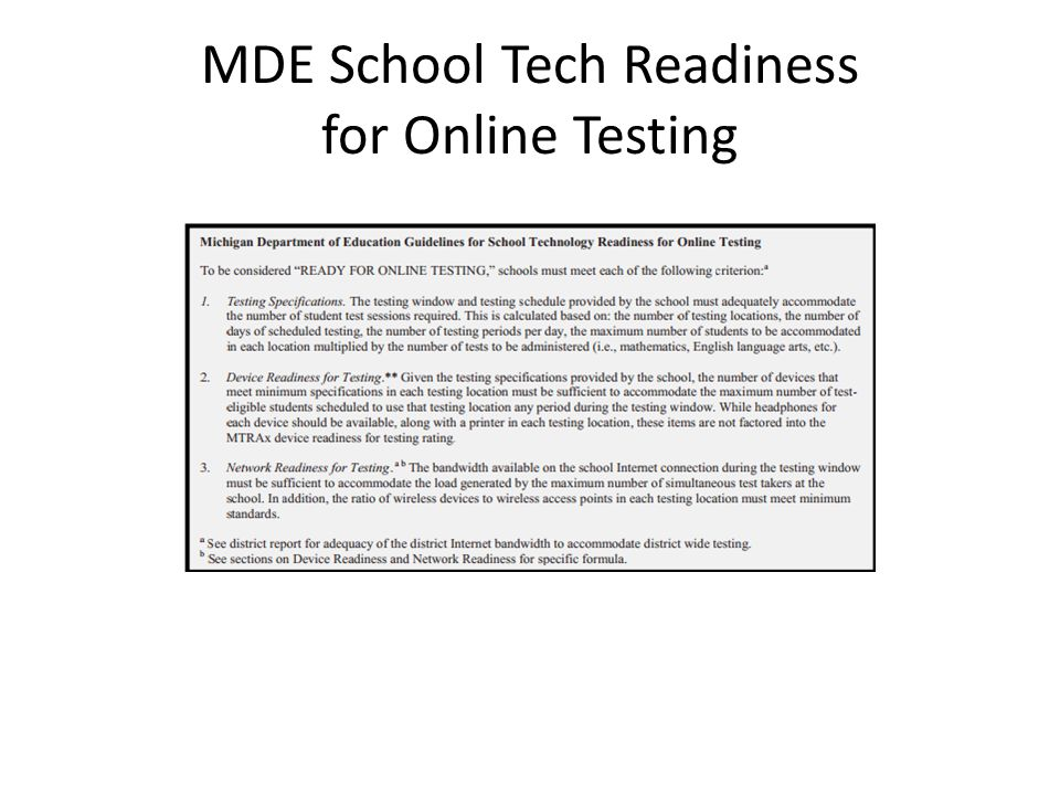 MDE School Tech Readiness for Online Testing