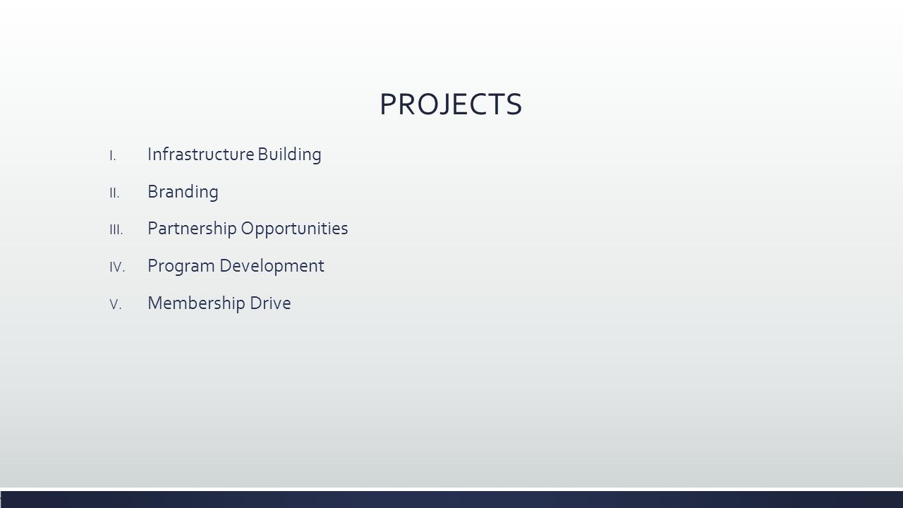 PROJECTS I. Infrastructure Building II. Branding III. Partnership Opportunities IV. Program Development V. Membership Drive