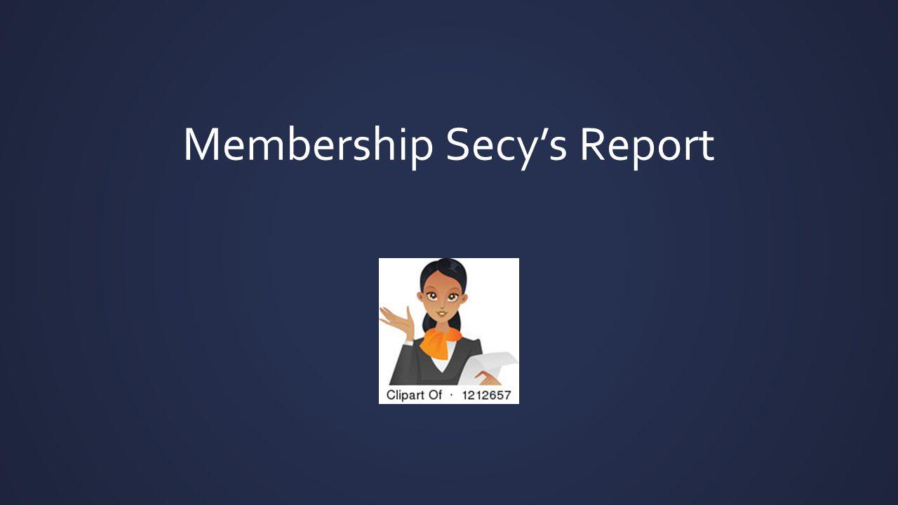 Membership Secy's Report