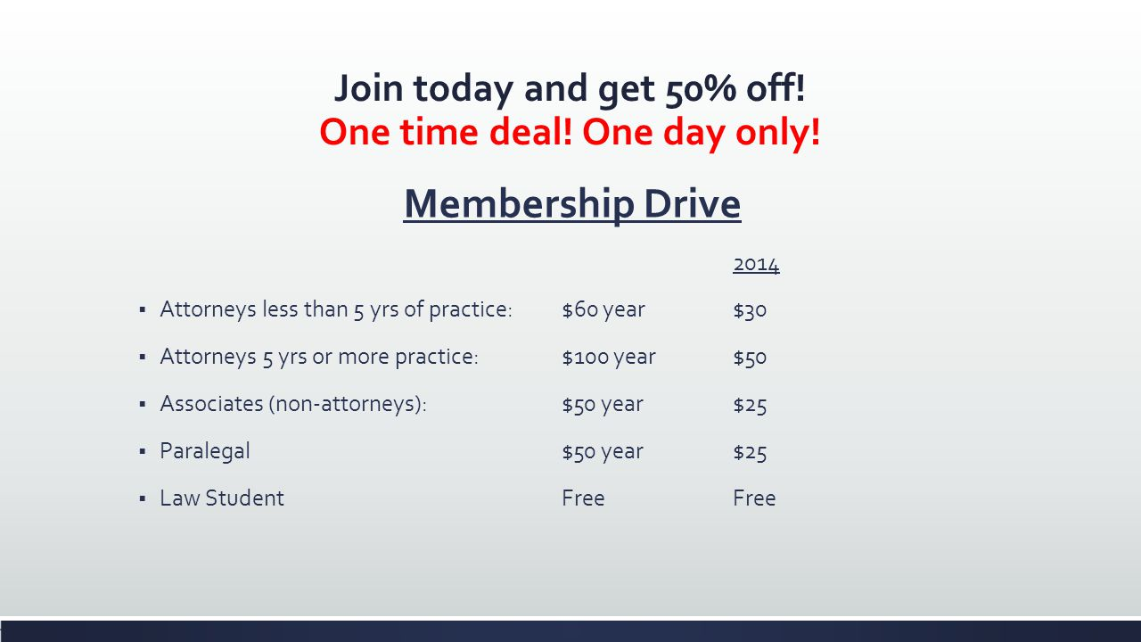 Join today and get 50% off. One time deal. One day only.