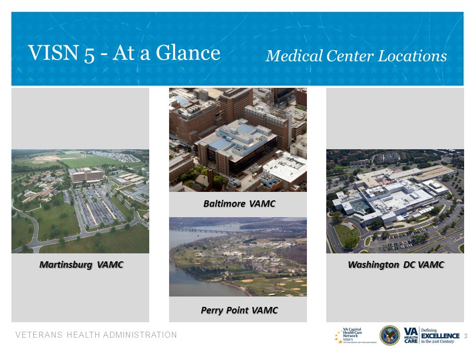 VETERANS HEALTH ADMINISTRATION VISN 5 – At a Glance Pre-Decisional/Not for Public Release FY 2013 Mid-Year Budget Review – VISN 5 4  Square Miles: 19,269  Veteran Enrollees: 227,183  States: 04*  VAMCs: 04  CBOCs: 18  Vet Centers: 12  State Veterans Homes: 01  VBA Regional Offices: 02  National Cemeteries: 06  State Veteran Cemeteries: 05 *District of Columbia not included