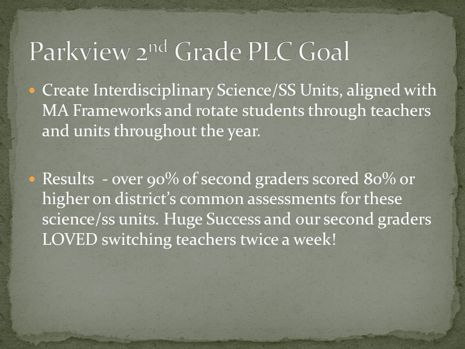 Create Interdisciplinary Science/SS Units, aligned with MA Frameworks and rotate students through teachers and units throughout the year. Results - ov