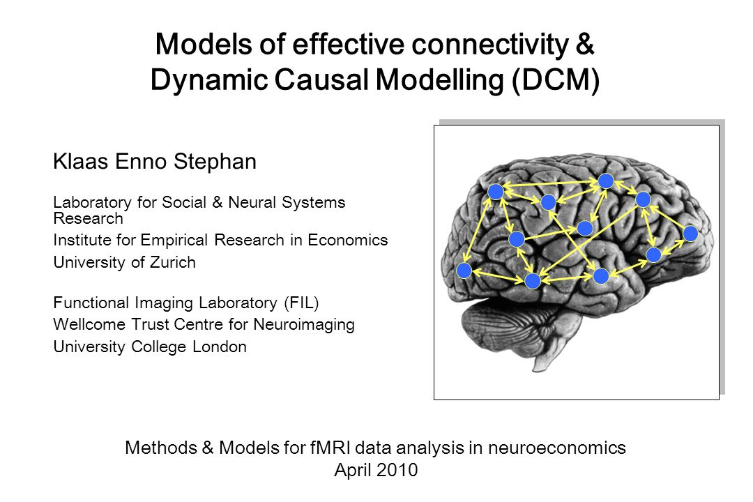 Different approaches to analysing functional connectivity Seed voxel correlation analysis Eigen-decomposition (PCA, SVD) Independent component analysis (ICA) any other technique describing statistical dependencies amongst regional time series