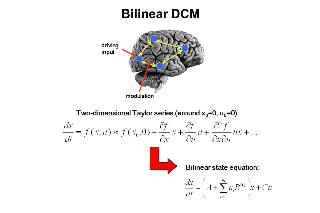 Bilinear DCM Bilinear state equation: driving input modulation Two-dimensional Taylor series (around x 0 =0, u 0 =0):
