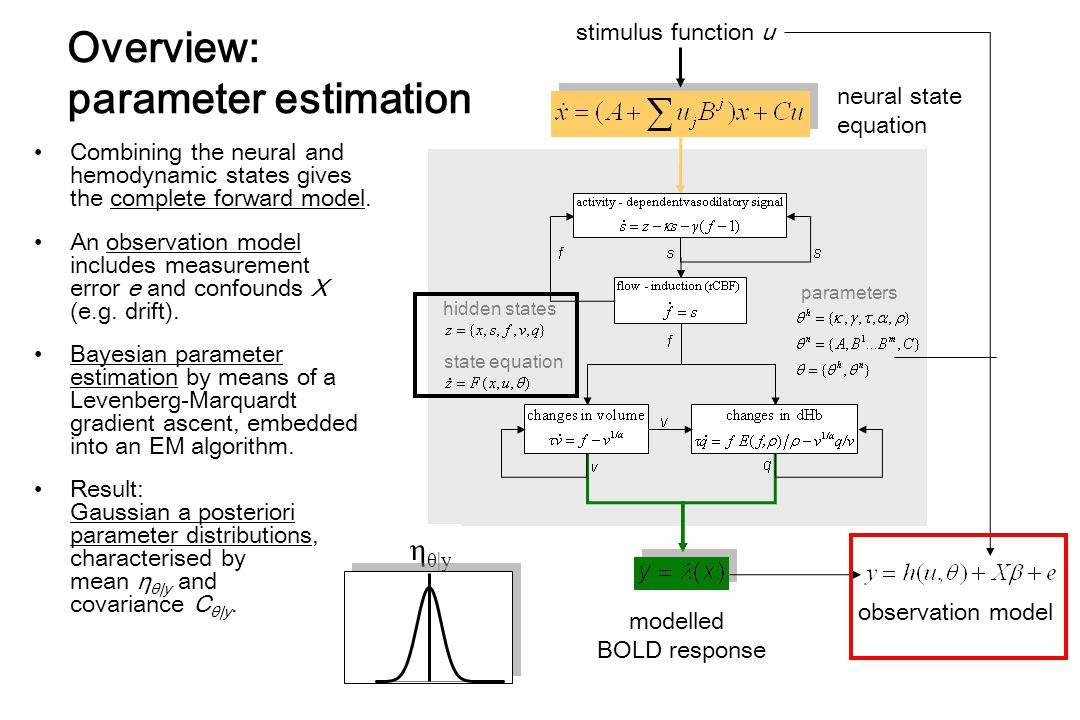 stimulus function u modelled BOLD response observation model hidden states state equation parameters Combining the neural and hemodynamic states gives the complete forward model.