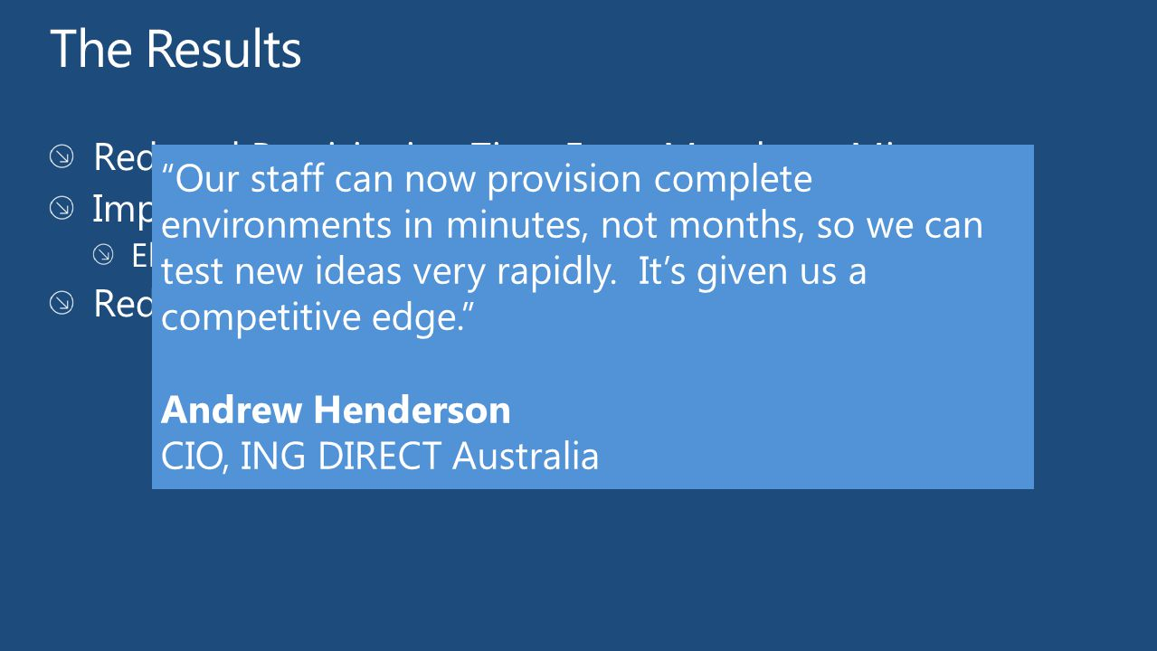 Our staff can now provision complete environments in minutes, not months, so we can test new ideas very rapidly.