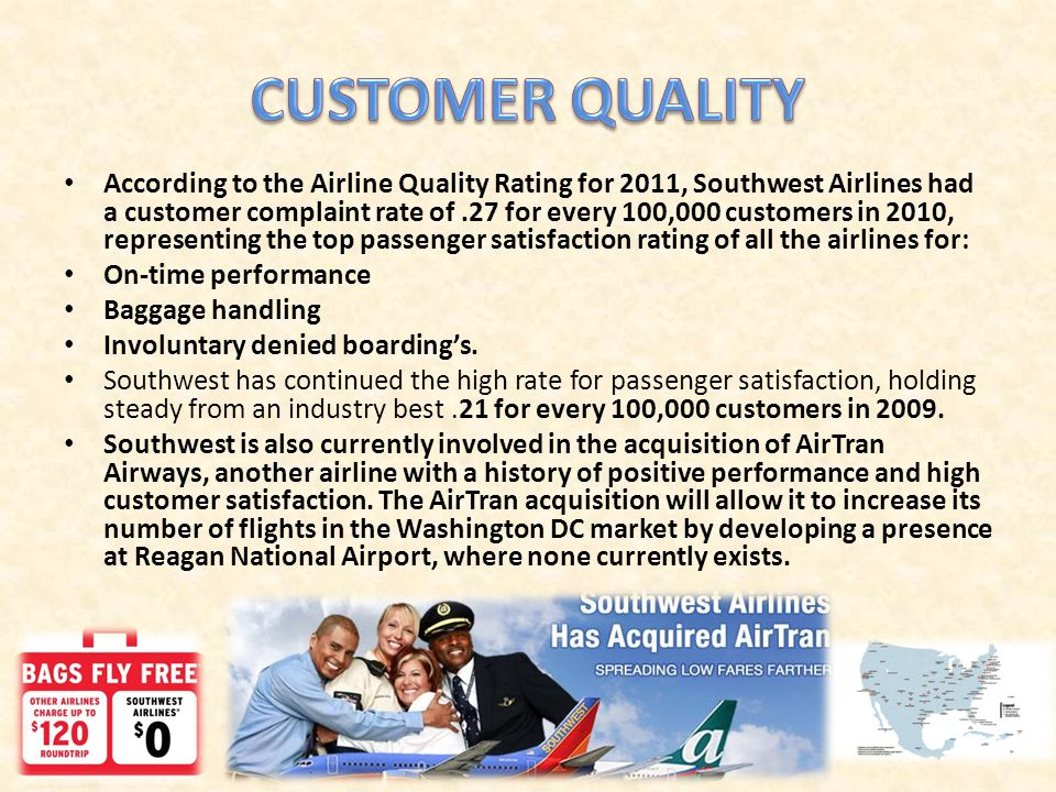 According to the Airline Quality Rating for 2011, Southwest Airlines had a customer complaint rate of.27 for every 100,000 customers in 2010, represen