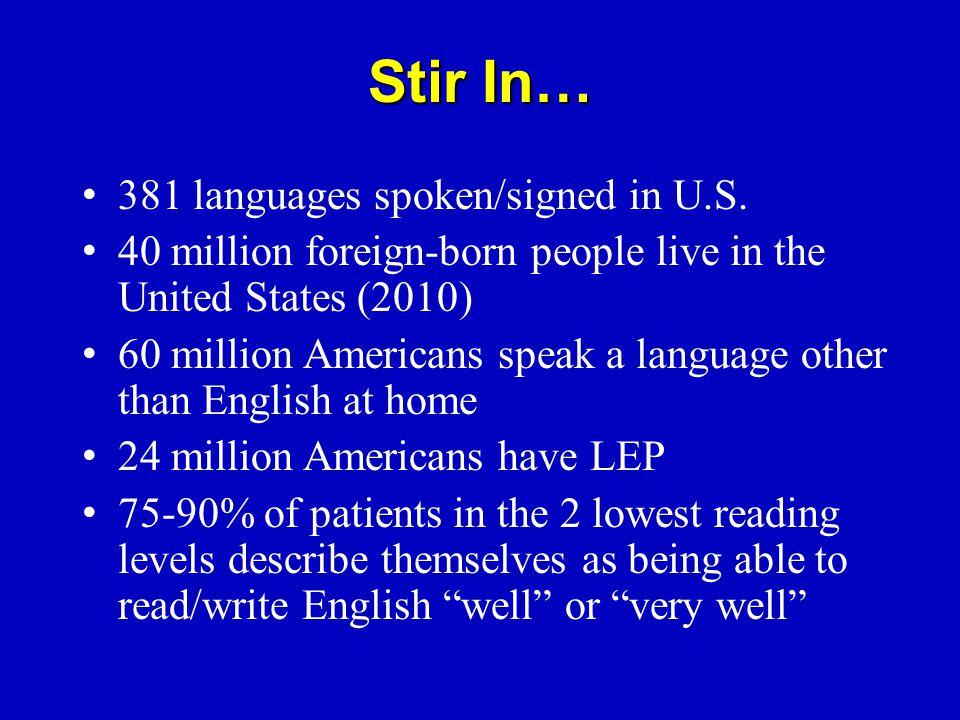 Stir In… 381 languages spoken/signed in U.S.