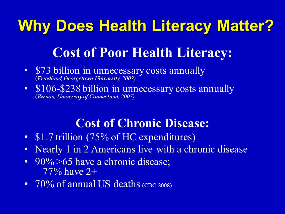 Cost of Poor Health Literacy: $73 billion in unnecessary costs annually (Friedland, Georgetown University, 2003) $106-$238 billion in unnecessary costs annually (Vernon, University of Connecticut, 2007) Cost of Chronic Disease: $1.7 trillion (75% of HC expenditures) Nearly 1 in 2 Americans live with a chronic disease 90% >65 have a chronic disease; 77% have 2+ 70% of annual US deaths (CDC 2008) Why Does Health Literacy Matter