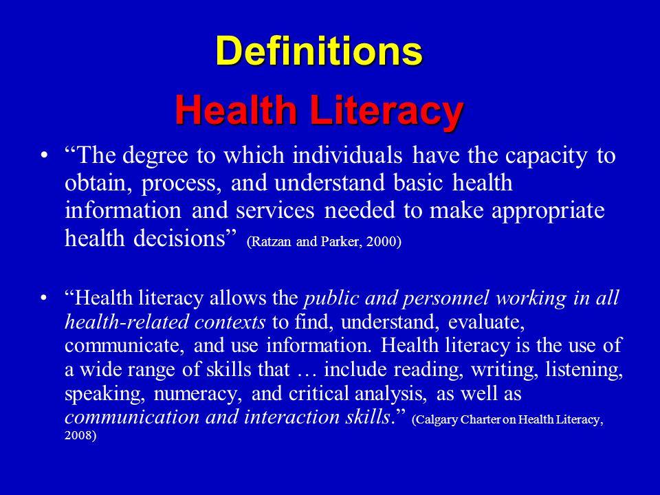 Health Disparities and Health Literacy