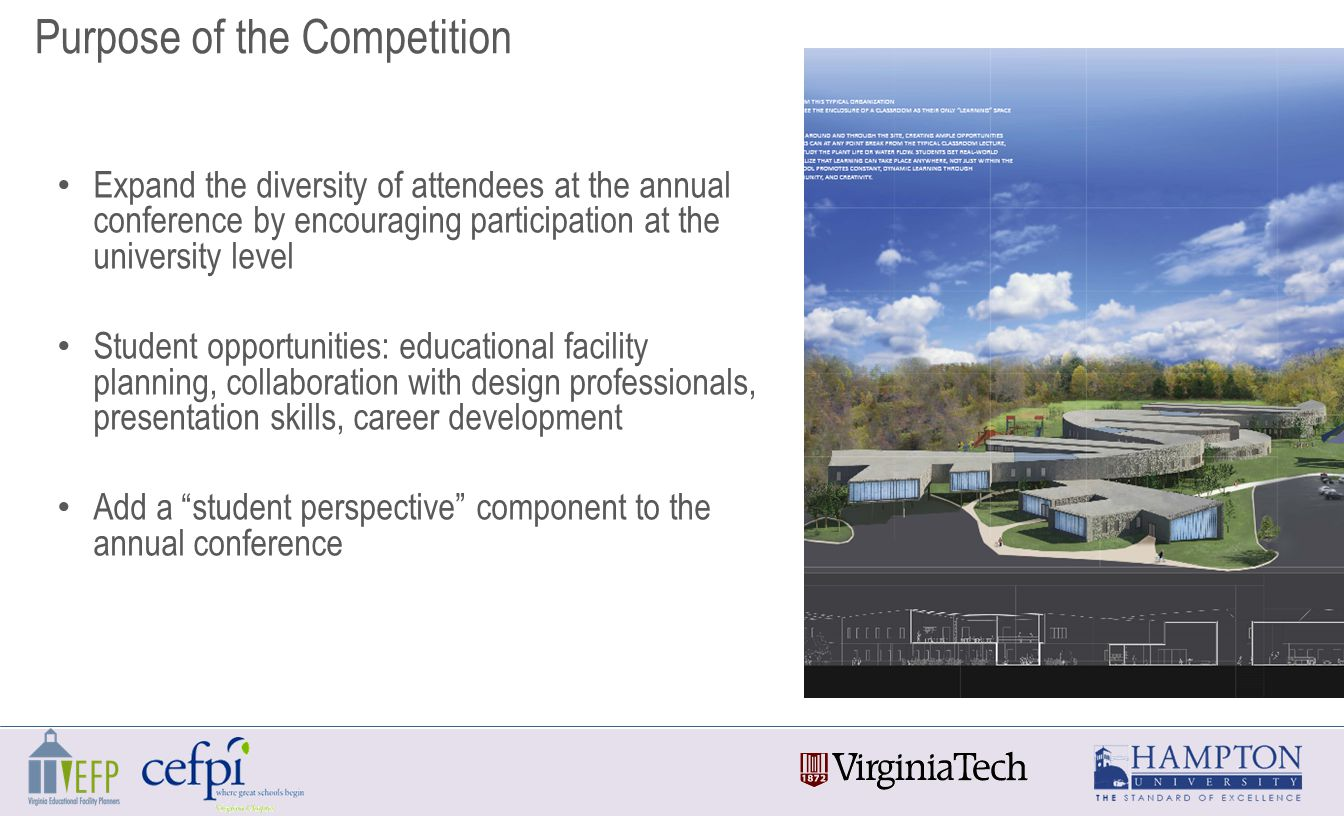 Expand the diversity of attendees at the annual conference by encouraging participation at the university level Student opportunities: educational facility planning, collaboration with design professionals, presentation skills, career development Add a student perspective component to the annual conference Purpose of the Competition
