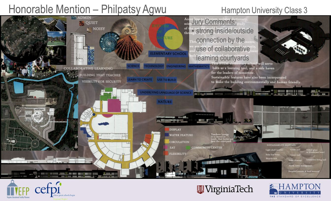 Honorable Mention – Philpatsy Agwu Hampton University Class 3 Jury Comments: ▪strong inside/outside connection by the use of collaborative learning courtyards