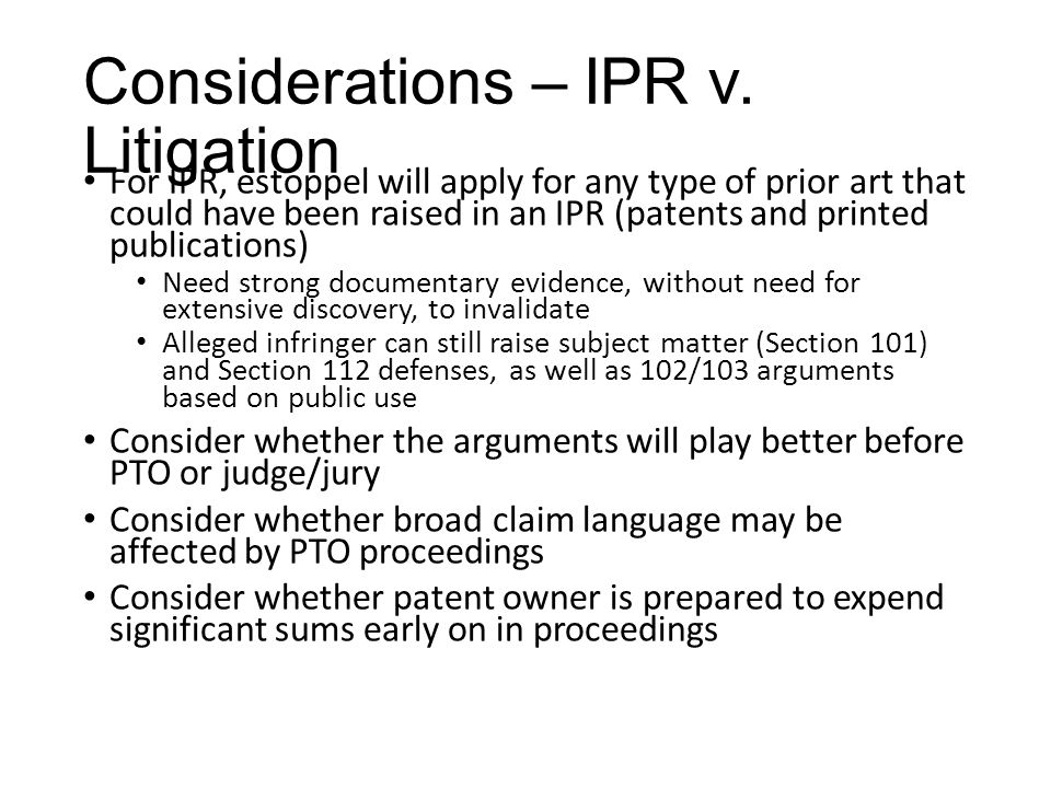 Considerations – IPR v.
