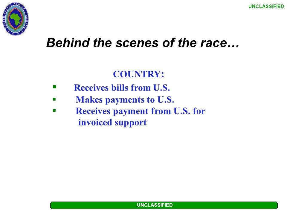 UNCLASSIFIED Behind the scenes of the race… DFAS:  Reviews transactions for completeness  Verifies contracts are in place/adequately resourced  Gen