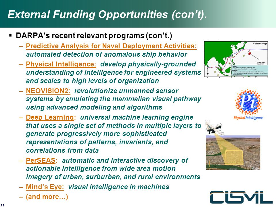 External Funding Opportunities (con't).  DARPA's recent relevant programs (con't.) –Predictive Analysis for Naval Deployment Activities: automated de