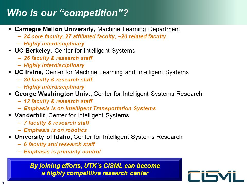"Who is our ""competition""?  Carnegie Mellon University, Machine Learning Department –24 core faculty, 27 affiliated faculty, ~20 related faculty –High"