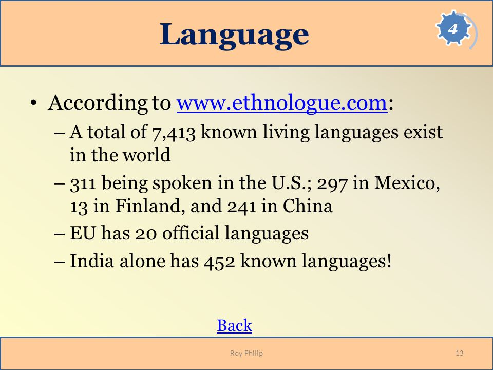 Language According to www.ethnologue.com:www.ethnologue.com – A total of 7,413 known living languages exist in the world – 311 being spoken in the U.S