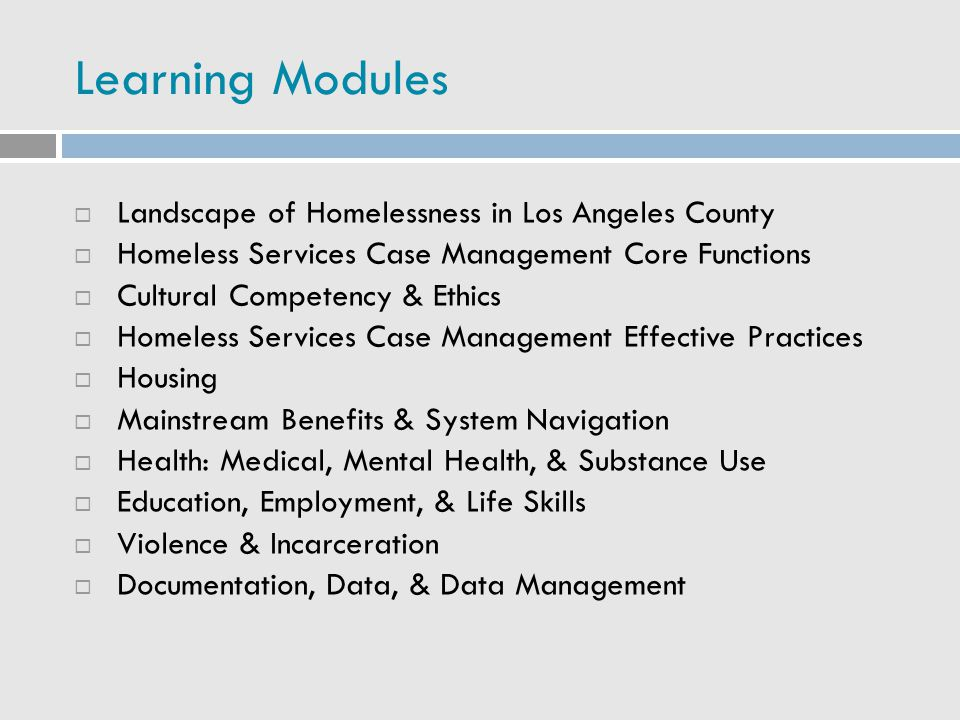Learning Modules  Landscape of Homelessness in Los Angeles County  Homeless Services Case Management Core Functions  Cultural Competency & Ethics 