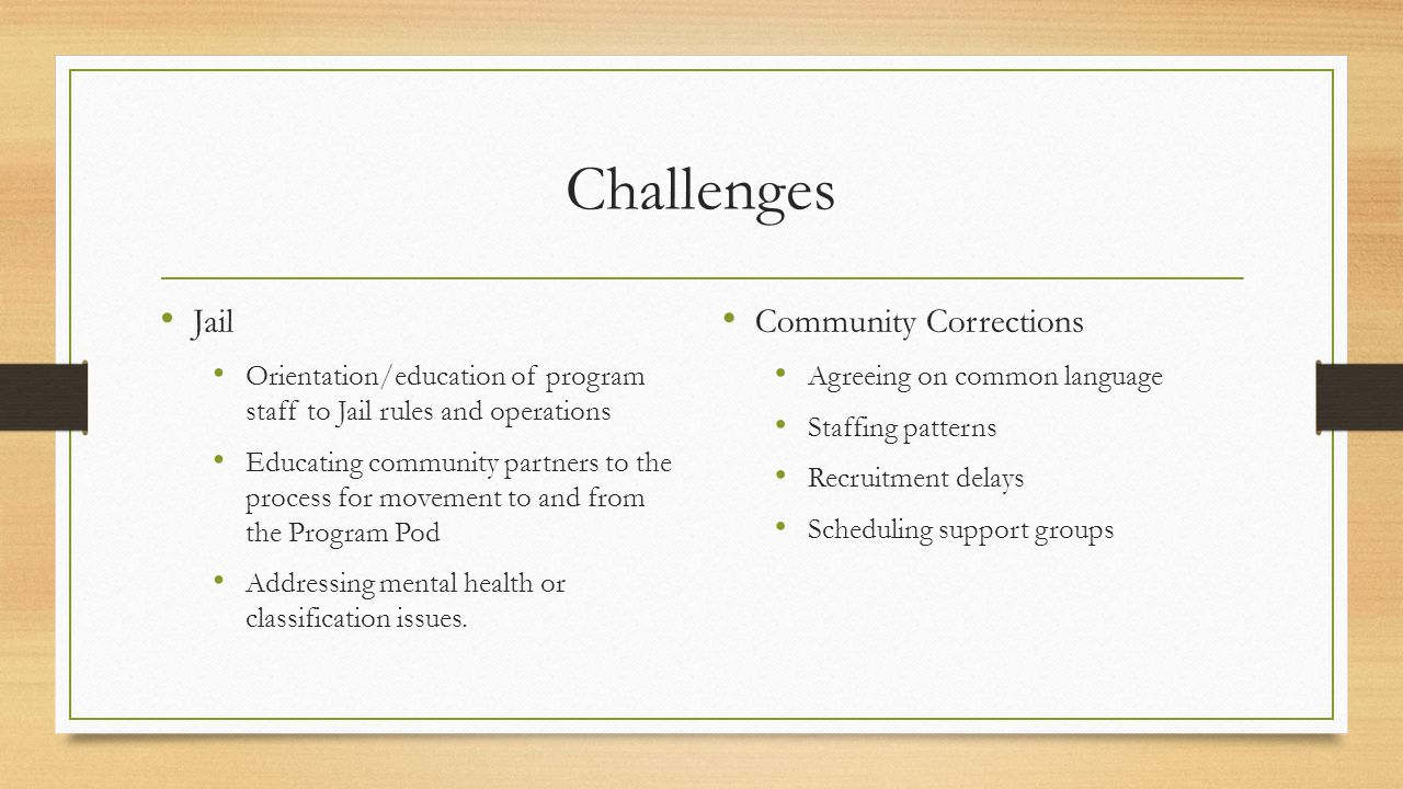 Challenges Jail Orientation/education of program staff to Jail rules and operations Educating community partners to the process for movement to and from the Program Pod Addressing mental health or classification issues.