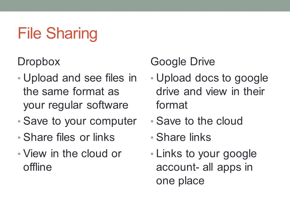 File Sharing Dropbox Upload and see files in the same format as your regular software Save to your computer Share files or links View in the cloud or