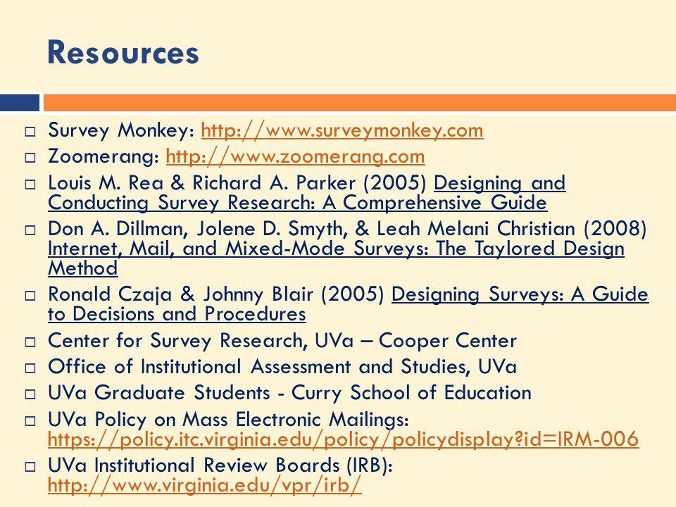 Resources  Survey Monkey: http://www.surveymonkey.comhttp://www.surveymonkey.com  Zoomerang: http://www.zoomerang.comhttp://www.zoomerang.com  Louis M.