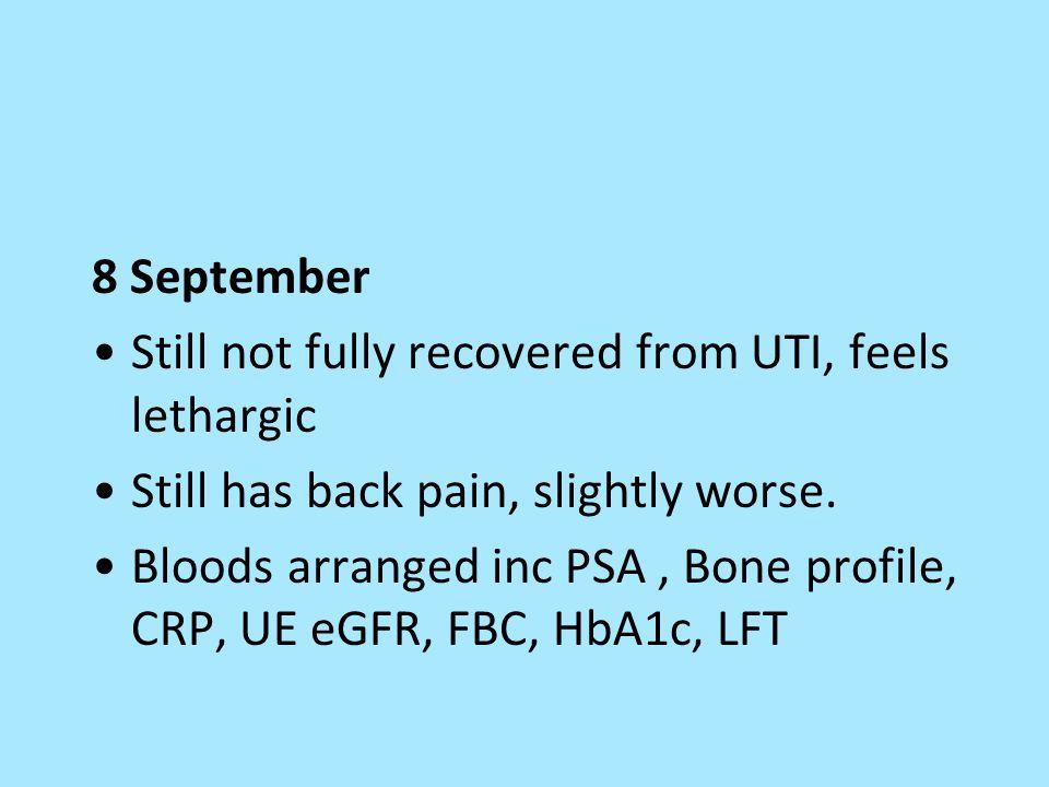 8 September Still not fully recovered from UTI, feels lethargic Still has back pain, slightly worse. Bloods arranged inc PSA, Bone profile, CRP, UE eG