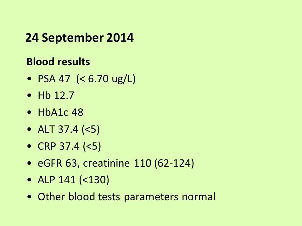 24 September 2014 Blood results PSA 47 (< 6.70 ug/L) Hb 12.7 HbA1c 48 ALT 37.4 (<5) CRP 37.4 (<5) eGFR 63, creatinine 110 (62-124) ALP 141 (<130) Othe