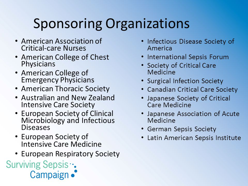 Sponsoring Organizations American Association of Critical-care Nurses American College of Chest Physicians American College of Emergency Physicians American Thoracic Society Australian and New Zealand Intensive Care Society European Society of Clinical Microbiology and Infectious Diseases European Society of Intensive Care Medicine European Respiratory Society Infectious Disease Society of America International Sepsis Forum Society of Critical Care Medicine Surgical Infection Society Canadian Critical Care Society Japanese Society of Critical Care Medicine Japanese Association of Acute Medicine German Sepsis Society Latin American Sepsis Institute