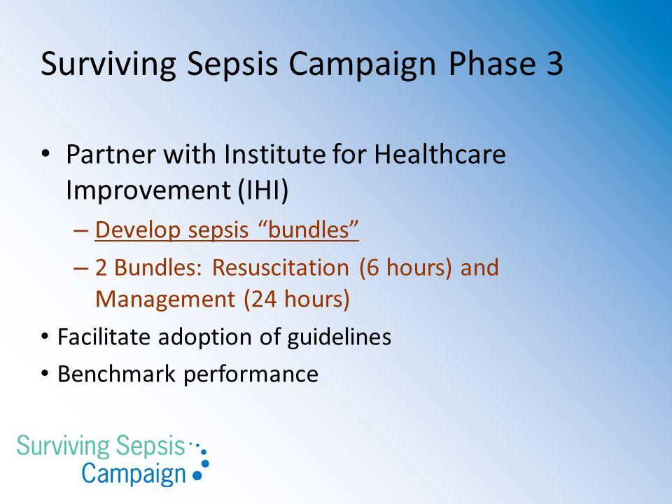 "Surviving Sepsis Campaign Phase 3 Partner with Institute for Healthcare Improvement (IHI) – Develop sepsis ""bundles"" – 2 Bundles: Resuscitation (6 hou"