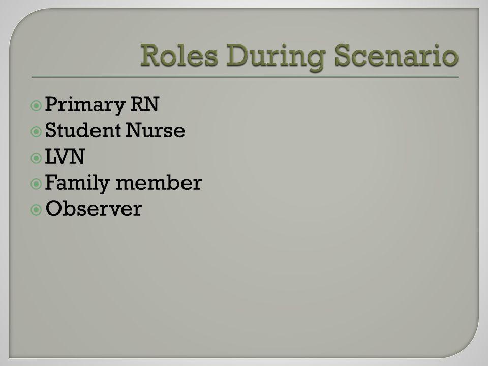  Primary RN  Student Nurse  LVN  Family member  Observer