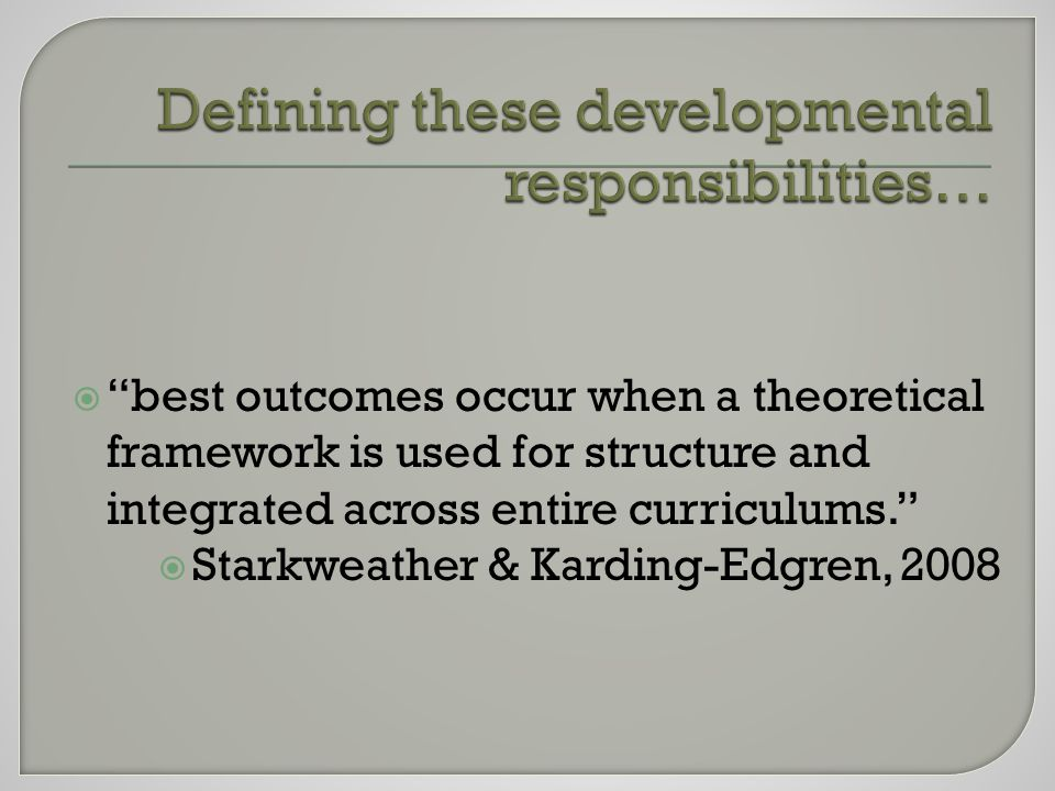  best outcomes occur when a theoretical framework is used for structure and integrated across entire curriculums.  Starkweather & Karding-Edgren, 2008