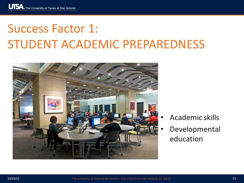 The University of Texas at San Antonio, One UTSA Circle, San Antonio, TX 78249 11/11/1121 Success Factor 1: STUDENT ACADEMIC PREPAREDNESS Academic skills Developmental education