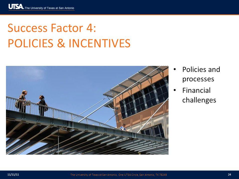 The University of Texas at San Antonio, One UTSA Circle, San Antonio, TX 78249 11/11/1124 Success Factor 4: POLICIES & INCENTIVES Policies and processes Financial challenges