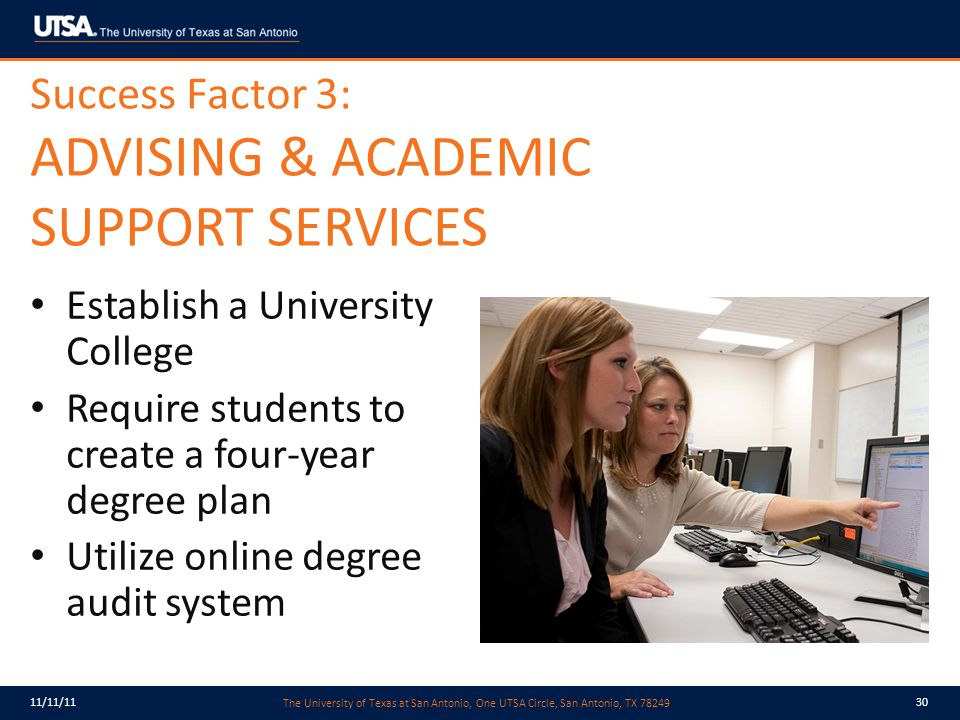 The University of Texas at San Antonio, One UTSA Circle, San Antonio, TX 78249 11/11/1130 Success Factor 3: ADVISING & ACADEMIC SUPPORT SERVICES Establish a University College Require students to create a four-year degree plan Utilize online degree audit system