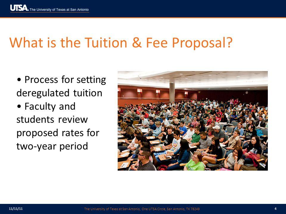 The University of Texas at San Antonio, One UTSA Circle, San Antonio, TX 78249 11/11/114 What is the Tuition & Fee Proposal.