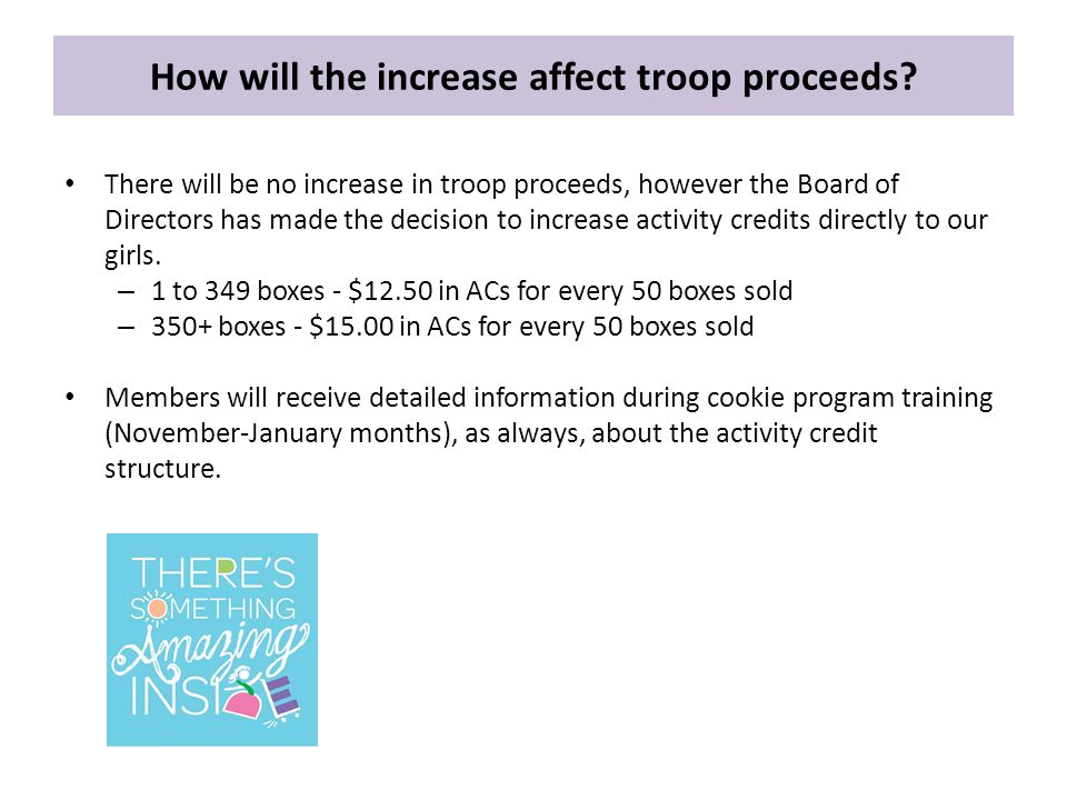 How will the increase affect troop proceeds.