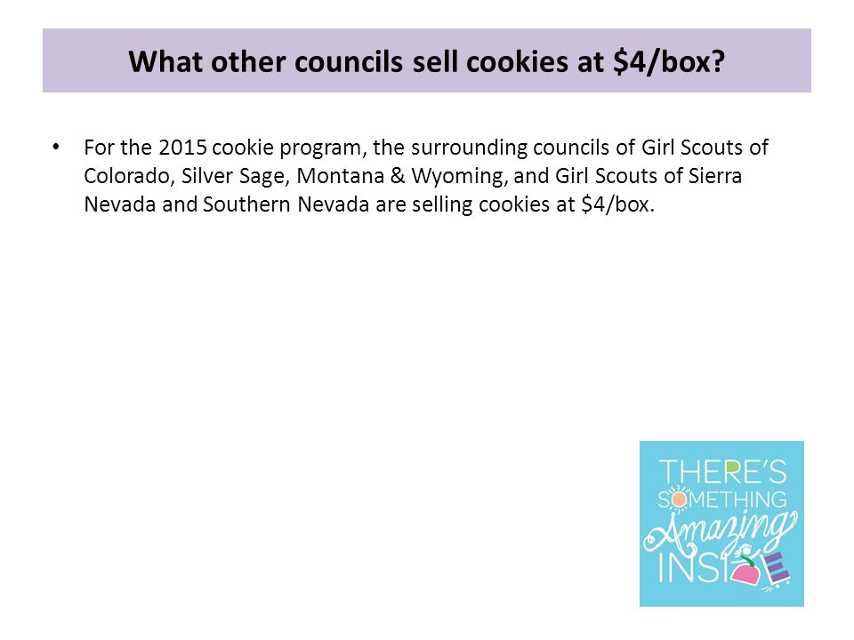 What other councils sell cookies at $4/box.