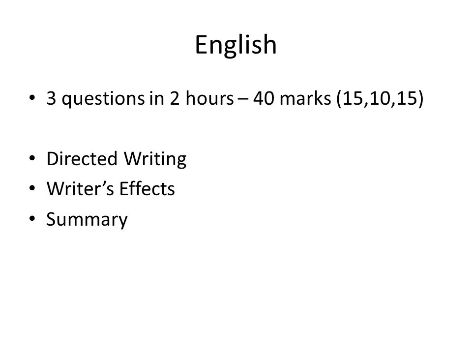 Q1: Directed Writing (15) '…I was terrified.