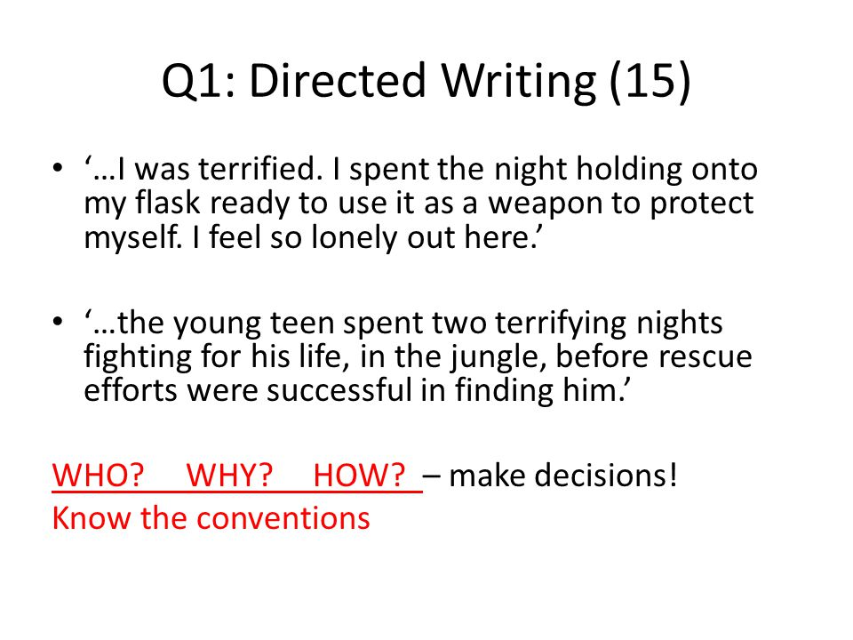 Q1: Directed Writing (15) '…I was terrified. I spent the night holding onto my flask ready to use it as a weapon to protect myself. I feel so lonely o