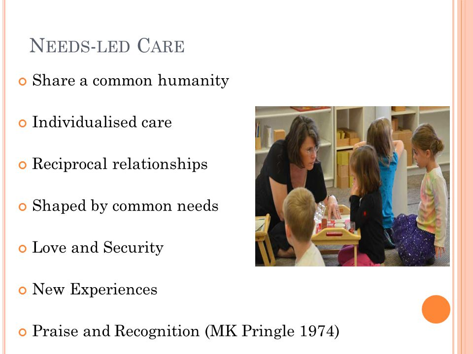 N EEDS - LED C ARE Share a common humanity Individualised care Reciprocal relationships Shaped by common needs Love and Security New Experiences Praise and Recognition (MK Pringle 1974)